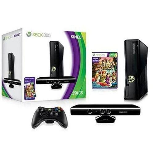 Konsoli Microsoft Xbox 360 Slim 250 GB +1 Ohjain + Kinect + Kinect Adventures - Musta