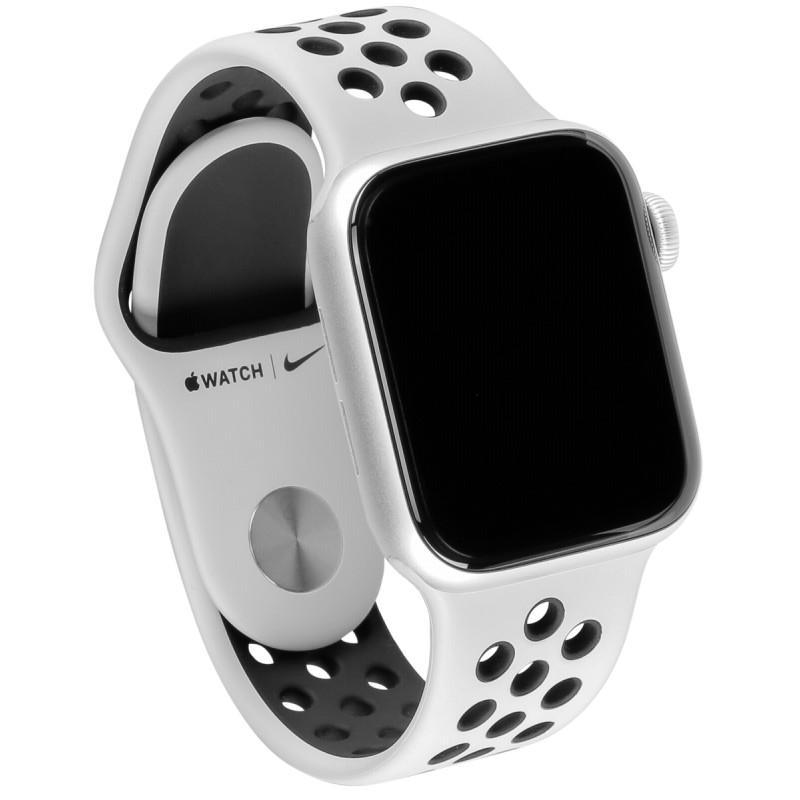 Apple Watch (Series 5) September 2019 44 mm - Aluminium Silber - Armband Nike Sportarmband Weiß/Schwarz