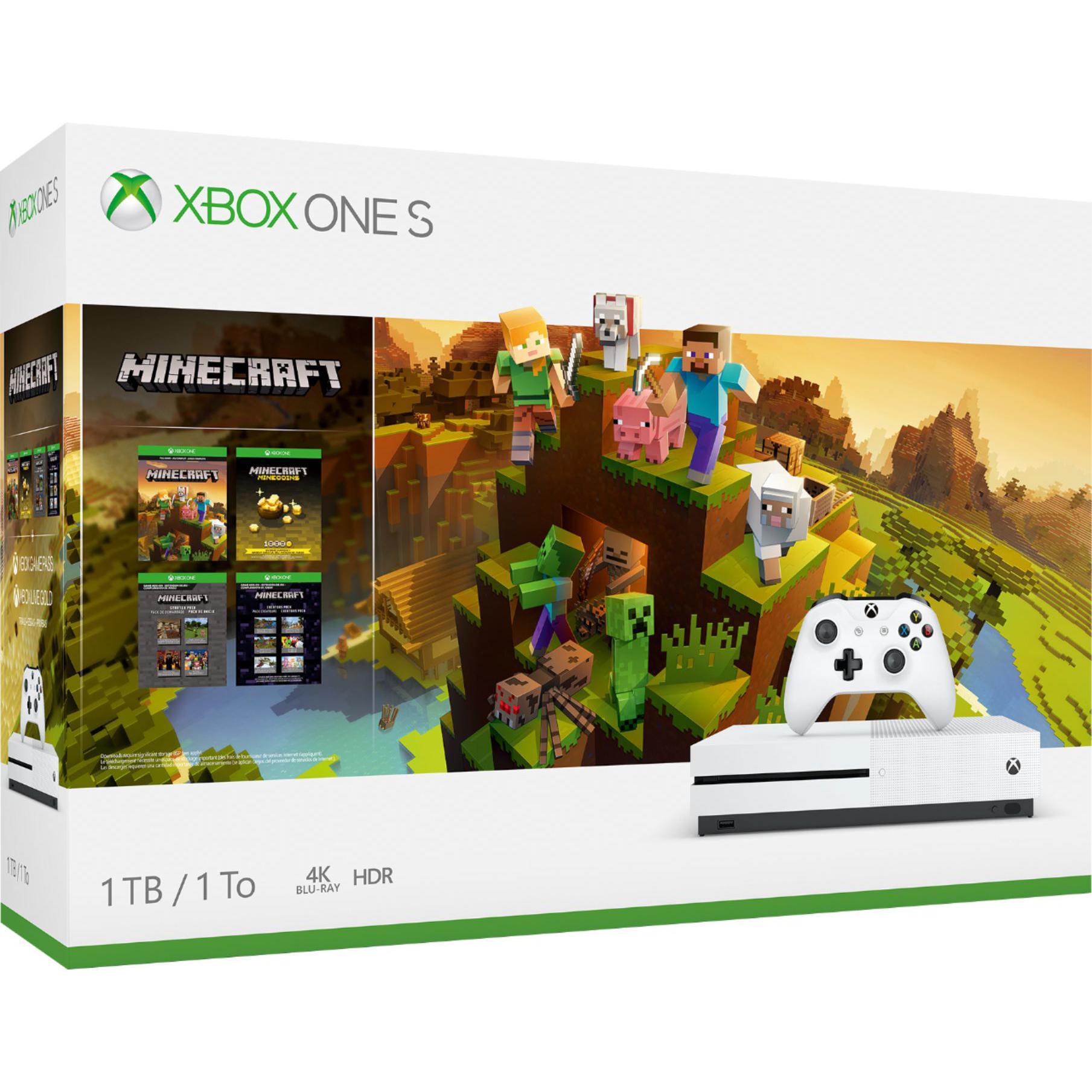 Console Microsoft Xbox One S 1 To + Manette + Jeu Minecraft - Blanc