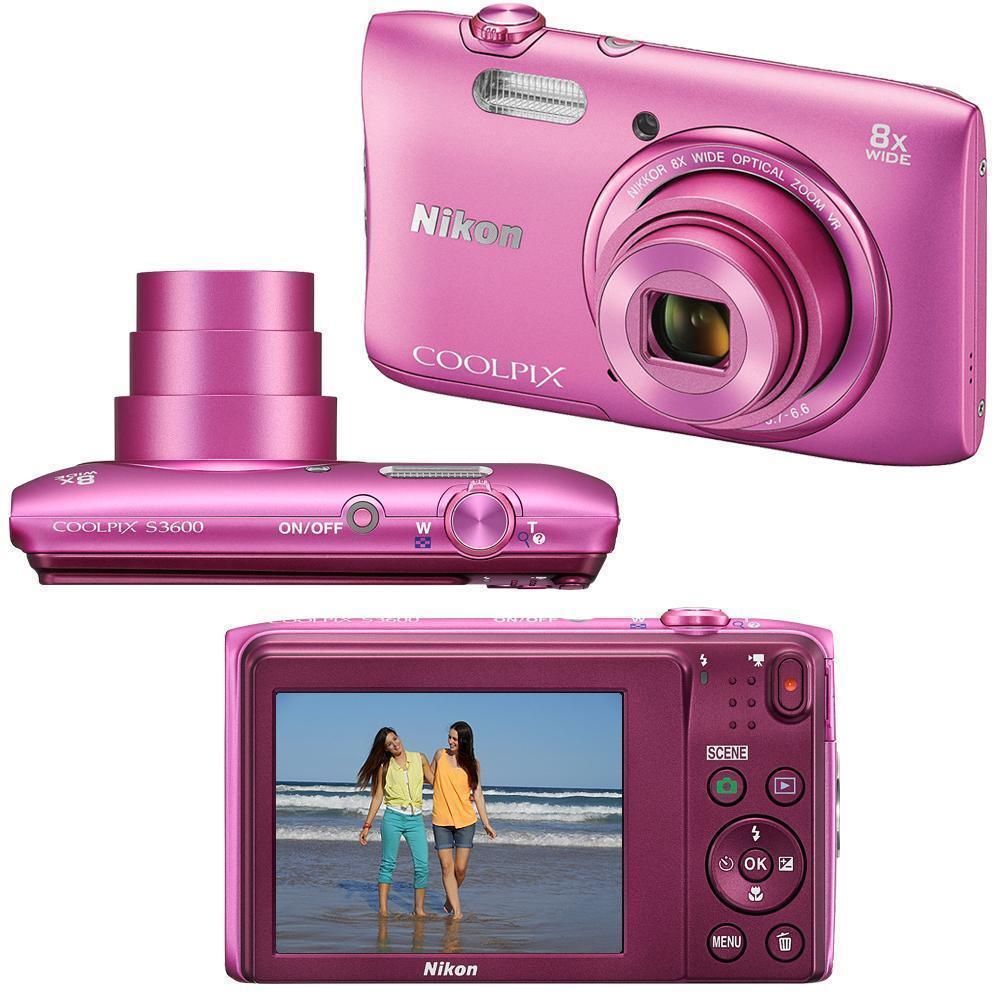 Compact - Nikon Coolpix S3600 Rose Nikon Nikkor Wide Optical Zoom 25-200 mm f/3.7-6.6