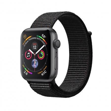 Apple Watch (Series 4) Septembre 2018 44 mm - Aluminium Gris sidéral - Bracelet Sport Noir