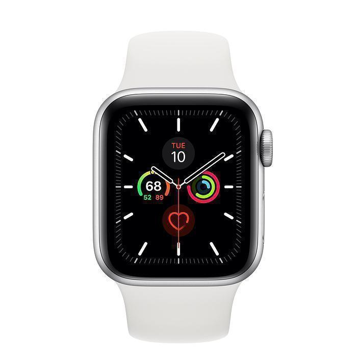 Apple Watch (Series 5) September 2019 40 mm - Aluminium Silber - Armband Sportarmband Weiß