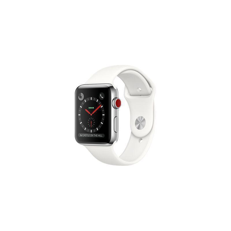 Apple Watch (Series 3) 2017 42 mm - Céramique Argent - Bracelet Sport Blanc