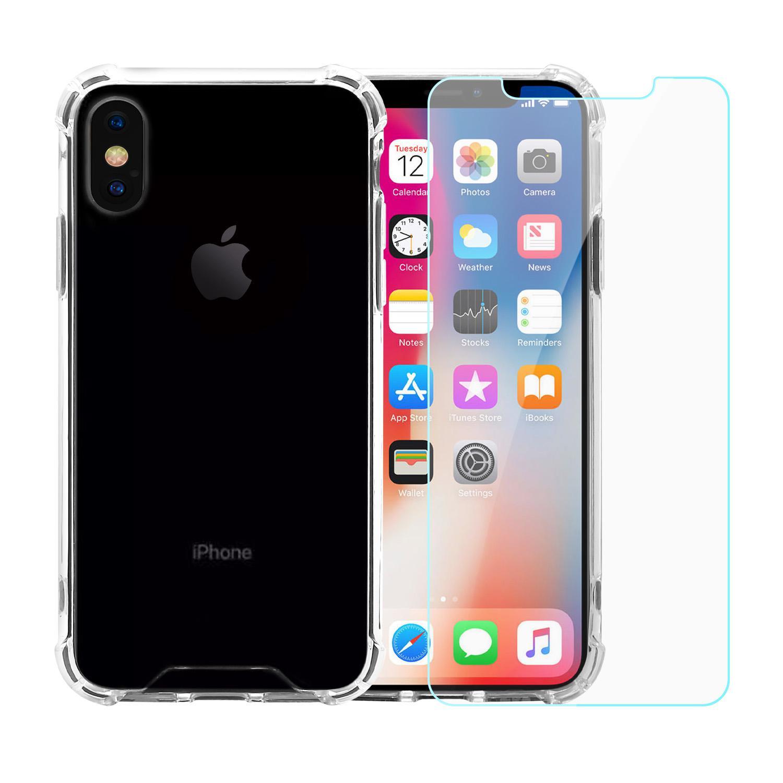 Coque et 2 écrans de protection iPhone X/XS - Plastique recyclé - Transparent