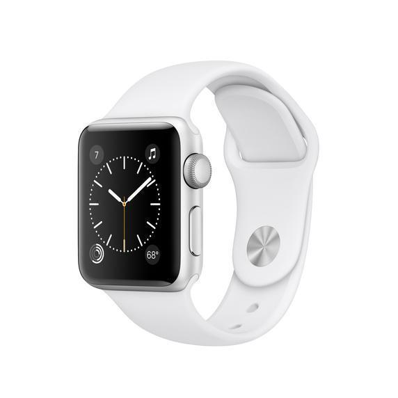 Apple Watch (Series 2) September 2016 38 mm - Aluminium Silber - Armband Sportarmband Weiß