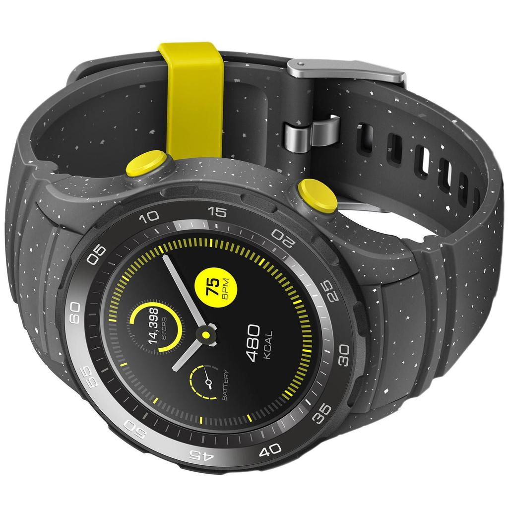 Huawei Ρολόγια Watch 2 Sport Παρακολούθηση καρδιακού ρυθμού GPS - Γκρι/Κίτρινο