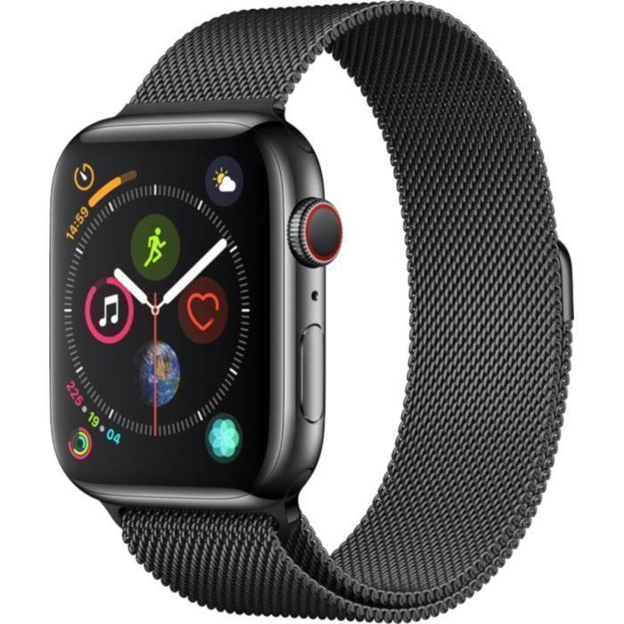 Apple Watch (Series 5) September 2019 40 mm - Rostfreier Stahl Schwarz - Armband Milanaise Armband Schwarz