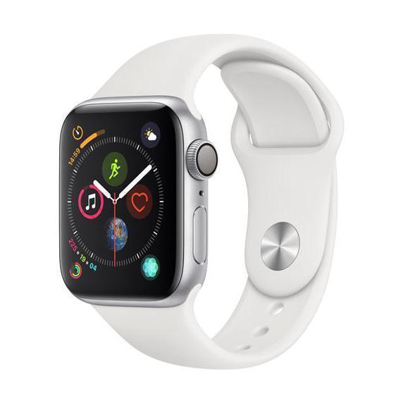 Apple Watch (Series 4) Septembre 2018 40 mm - Aluminium Argent - Bracelet Sport Blanc
