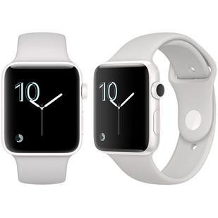 Apple Watch (Series 2) 42 - Aluminium Argent - Bracelet Sport Blanc