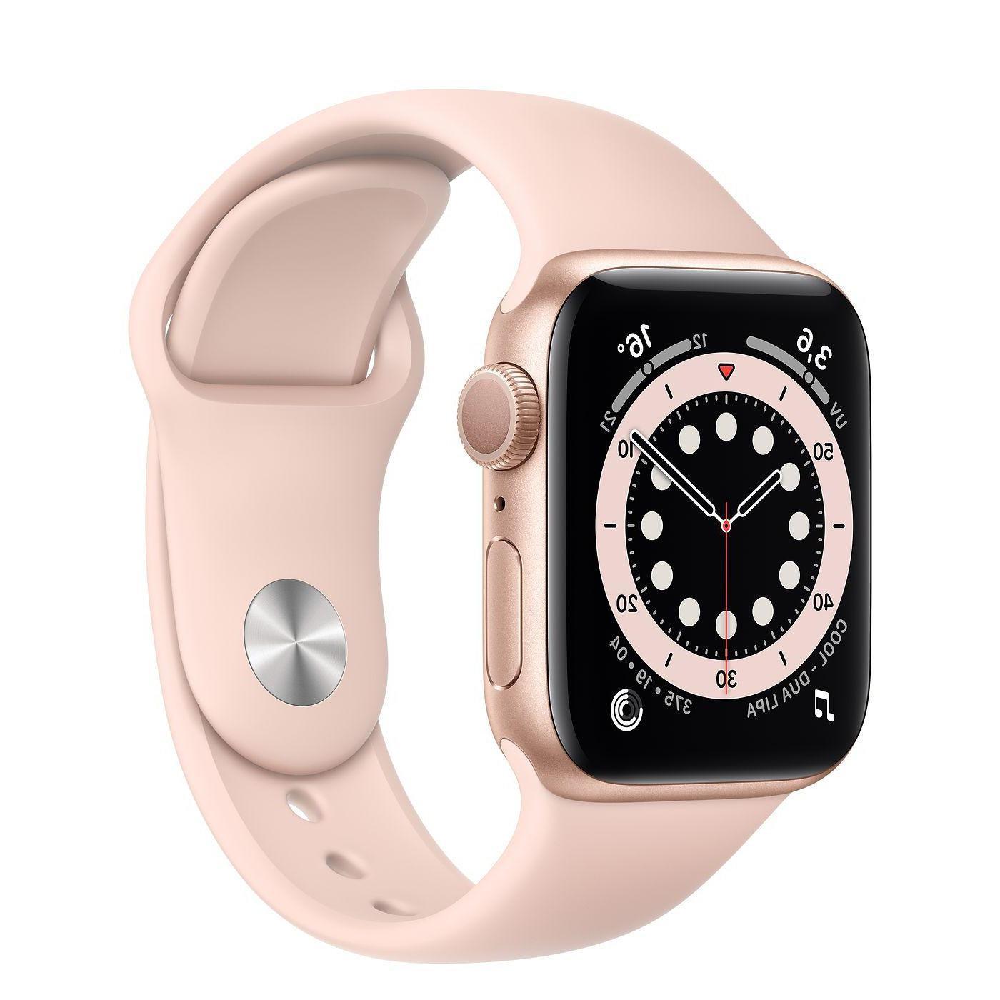 Apple Watch (Series 6) Setembro 2020 40 - Alumínio Dourado - Circuito desportivo Rosa (Sand)