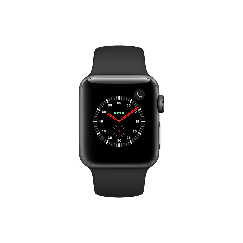 Apple Watch (Series 3) 38 mm - Aluminium Space Grau - Armband Sportarmband Schwarz