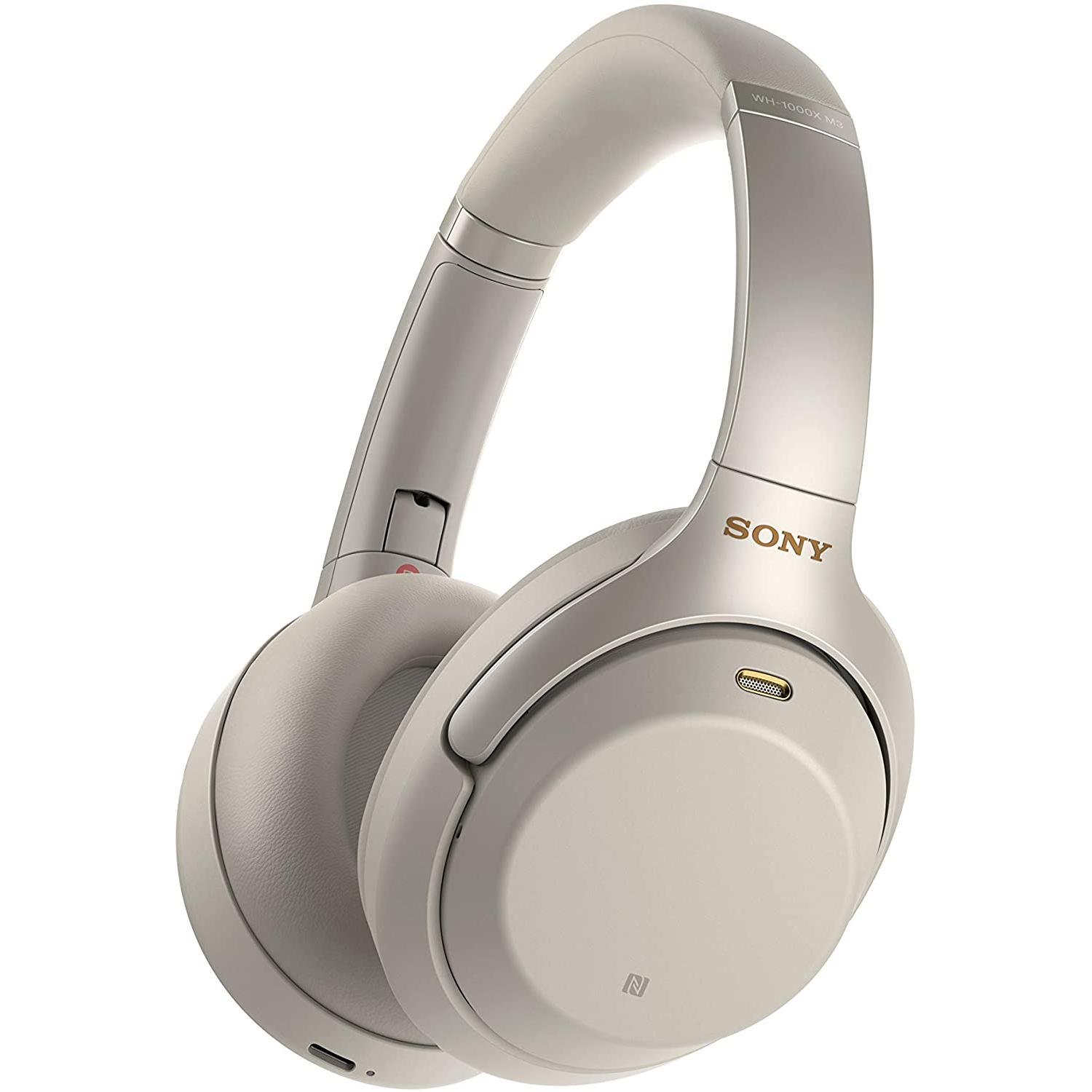 Sony WH-1000X M3 Noise-Cancelling Bluetooth Headphones with microphone - Beige