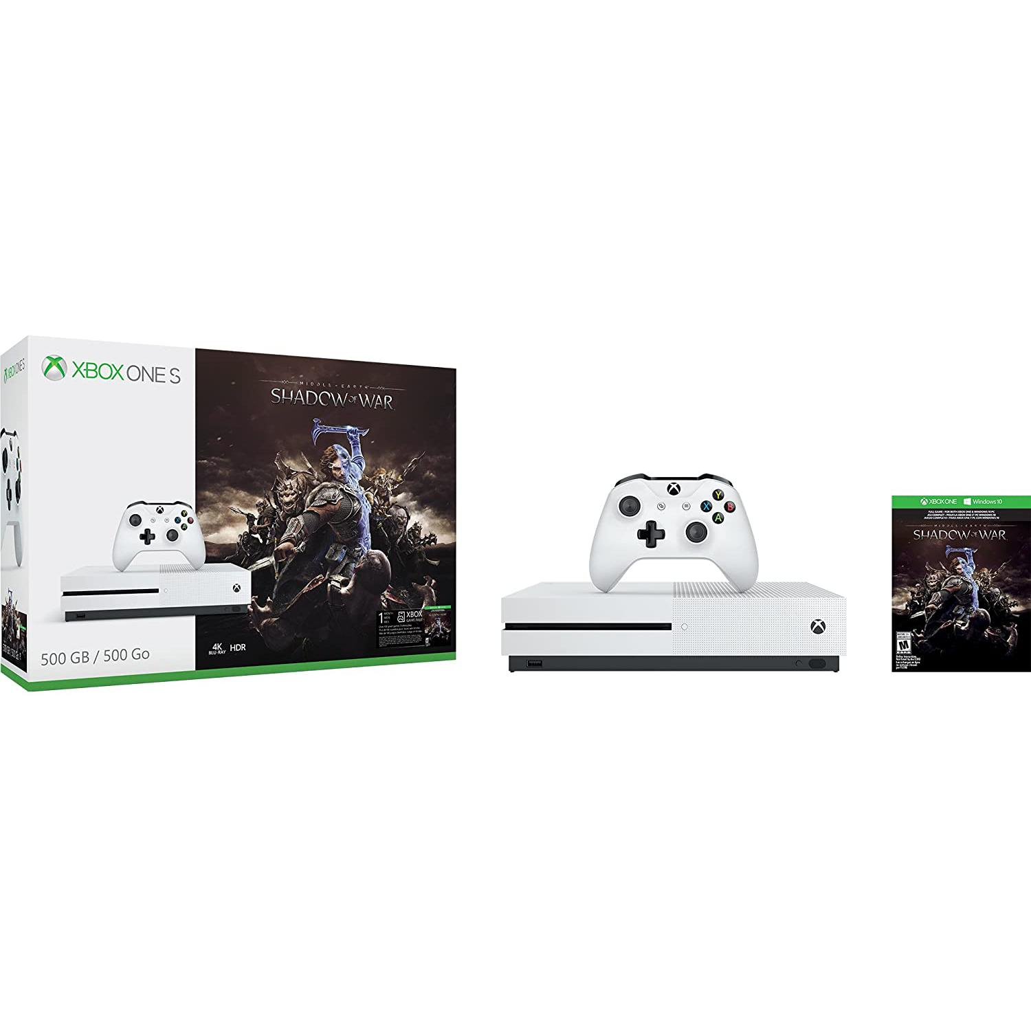 Console Microsoft Xbox One S 500 Go + Middle-earth: Shadow of War - Blanc