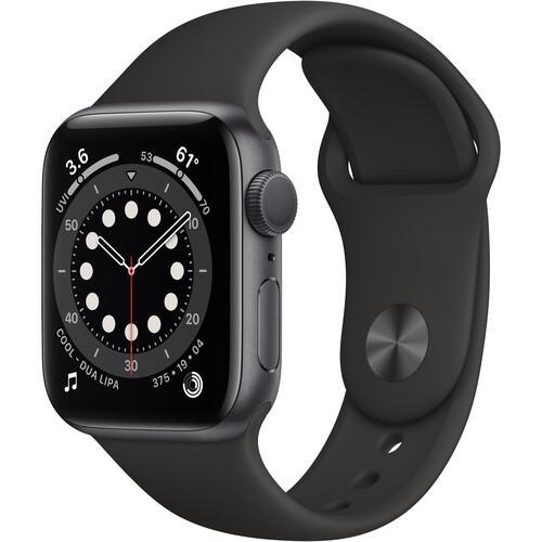 Apple Watch (Series 6) September 2020 44 - Aluminium Grå utrymme - Sport-loop Svart