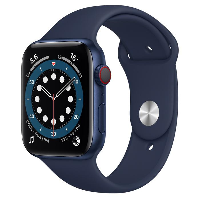 Apple Watch (Series 6) Septembre 2020 44 mm - Aluminium Bleu - Bracelet Sport Bleu
