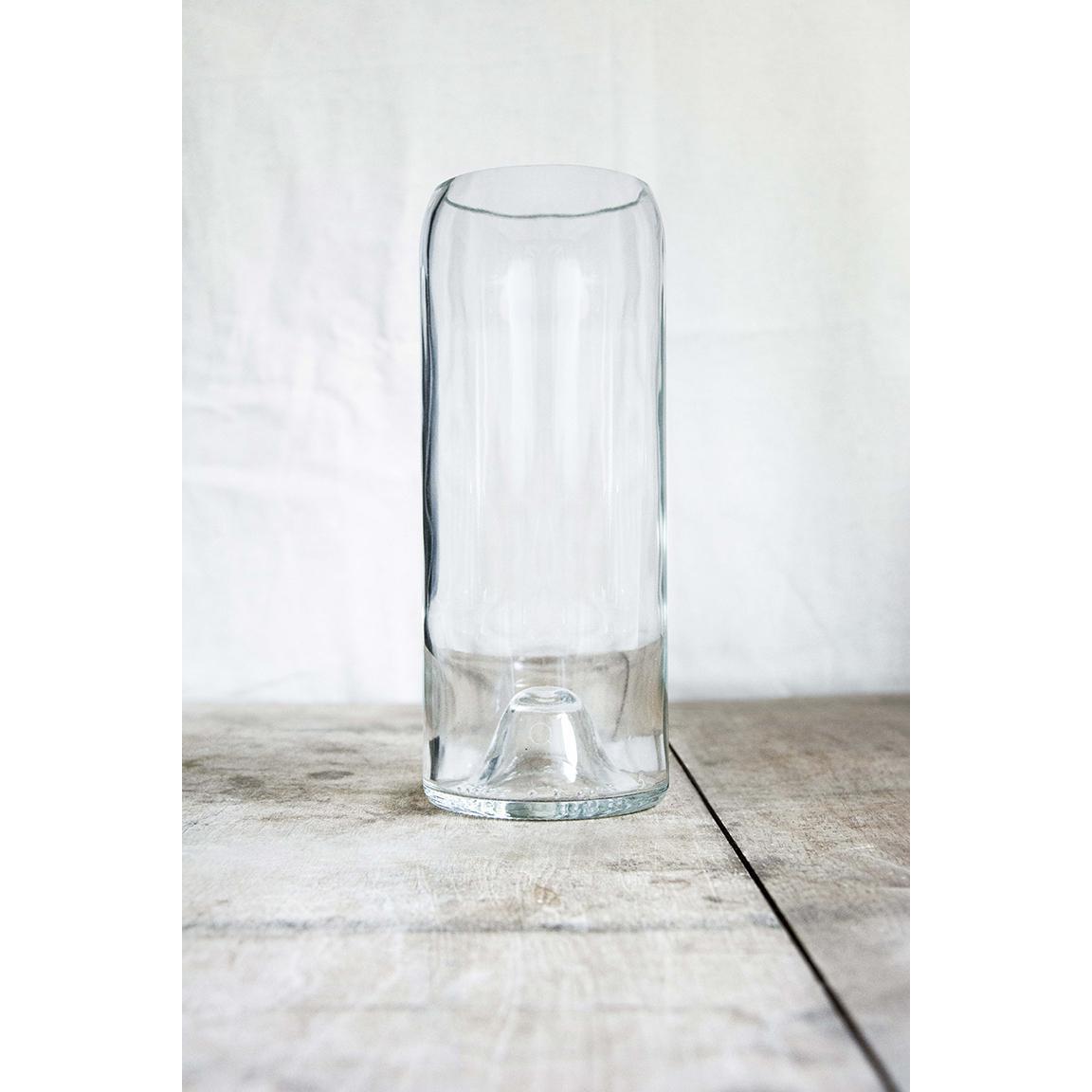 Vase « Magnum » transparent, fabriqué à partir d'un cul de bouteille.