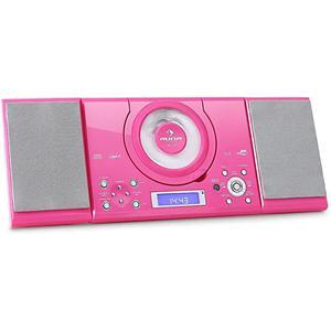 [RECONDITIONNÉ] - Auna MC-120 Chaîne stéréo Lecteur CD MP3 USB FM/AM AUX set d'autocollants -rose