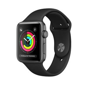 Apple Watch (Series 3) September 2017 38 mm - Aluminium Spacegrijs - Armband Sport armband Zwart