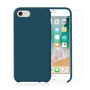 Pack Coque iPhone 7 / iPhone 8 en Silicone Bleu Canard + Verre Trempé