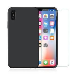 Pack Coque iPhone X / iPhone XS en Silicone Noir + Verre Trempé