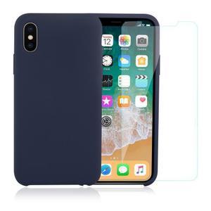 Pack Coque iPhone X / iPhone XS en Silicone Bleu Canard + Verre Trempé