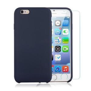 Custodia per iPhone 6 / 6S Plus nera in silicone e vetro temperato