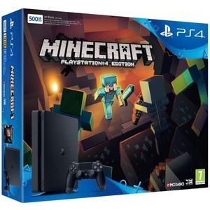 Konsoli Sony PlayStation 4 Slim 500 GB + peliohjain + peli Minecraft PlayStation 4 Edition - Musta