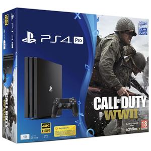Konsoli Sony PlayStation 4 Pro 1TB + 1 Ohjain + Call of Duty: WWII - Musta