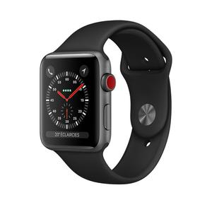 Apple Watch (Series 3) 2017 42 mm - Aluminium Spacegrijs - Armband Sport armband Zwart