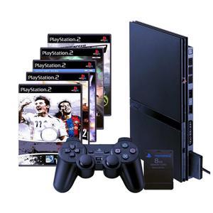 Console SONY PlayStation 2 + 5 Jeux + Carte mémoire - Noir