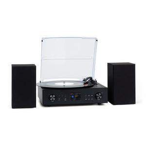 Mini-chaine Hi-Fi Connecté Auna Vinyl + tourne-disque + 2 haut-parleurs - Noir