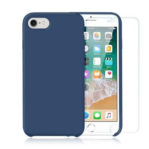 Pack Coque iPhone 7 / iPhone 8 en Silicone Bleu Cobalt + Verre Trempé
