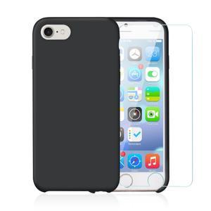 Pack Coque iPhone 7 / iPhone 8 en Silicone Noir + Verre Trempé