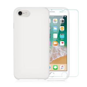 Pack Coque iPhone 7/ iPhone 8 en Silicone Blanche + Verre Trempé