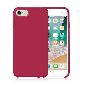 Pack Coque iPhone 7 / iPhone 8 en Silicone Cerise + Verre Trempé