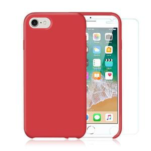 Pack Coque iPhone 7 / iPhone 8 en Silicone Rouge + Verre Trempé