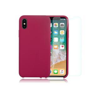 Pack Coque iPhone X / iPhone XS en Silicone Cerise + Verre Trempé