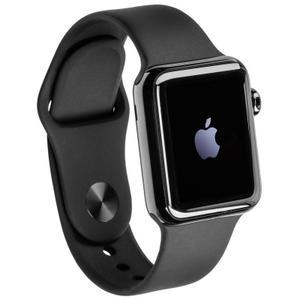 Apple Watch (Series 1) 38 mm - Rostfreier Stahl Schwarz - Armband Sportarmband Schwarz