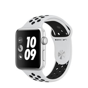 Apple Watch (Series 3) September 2017 42 mm - Aluminium Silber -  Armband Nike Sportarmband Wiess