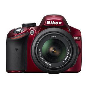 Reflex - Nikon D3200 - Rouge + Objectif Nikkor AF-S DX 18-55 VR