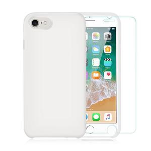 Pack Coque iPhone 7/ iPhone 8 en Silicone Blanche + Verre Trempé