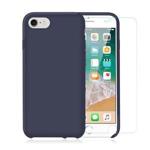 Pack Coque iPhone 7/8 en Silicone Bleu Nuit + Verre Trempé