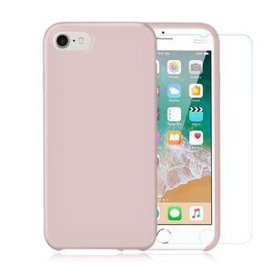 Pack Coque iPhone 7 / iPhone 8 en Silicone Rose Pâle + Verre Trempé