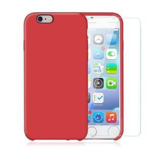 Pack iPhone 6 Plus / iPhone 6S Plus Silikon Hülle Rot + gehärtetem Glas