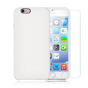 Pack Coque iPhone 6 Plus / iPhone 6S Plus Silikon Hülle Weiß + gehärtetem Glas