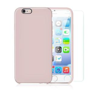 Pack iPhone 6 Plus / iPhone 6S Plus Silikon Hülle Hellrosa + gehärtetem Glas