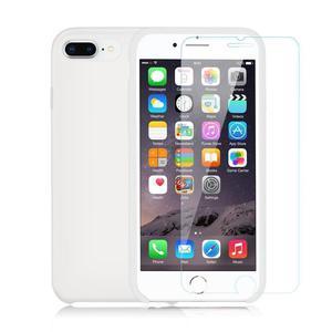 Pack iPhone 7 / iPhone 8 Funda Blanca En Silicona & Cristal Templado