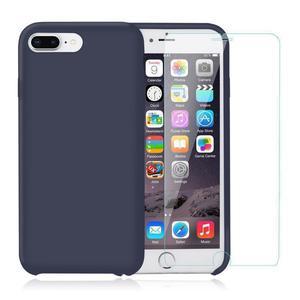 Pack Coque iPhone 7 Plus / iPhone 8 Plus en Silicone Bleu Nuit + Verre Trempé