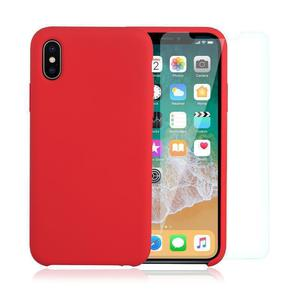 Pack Coque iPhone X / iPhone XS en Silicone Rouge + Verre Trempé