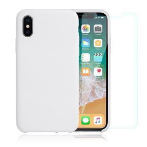 Pack Coque iPhone X / iPhone XS en Silicone Blanche + Verre Trempé